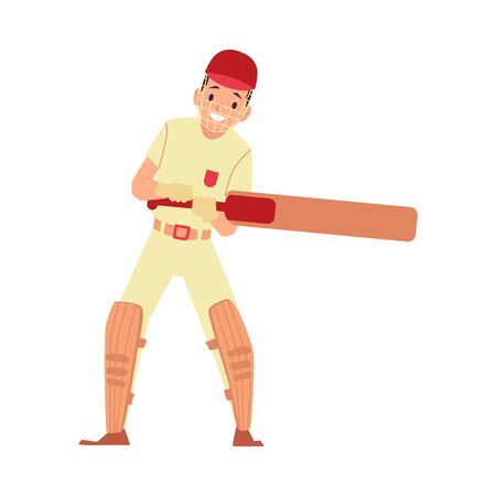Young male cricket player, cricketer or batsman in equipment and helmet fights off bat, sport vector flat illustration. Ilustração