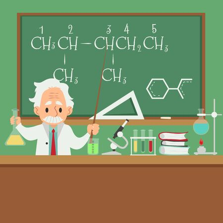 Professor of chemistry or scientist teaching students in college class or university at old chalkboard banner with cartoon character in flat style vector illustration. Illustration