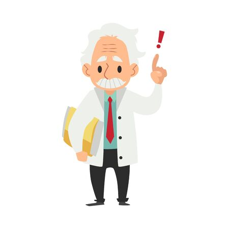Old male scientist stands with folder and hand finger raised up cartoon style, vector illustration isolated on white background. Senior professor or doctor in white coat has smart idea Banque d'images - 128171326