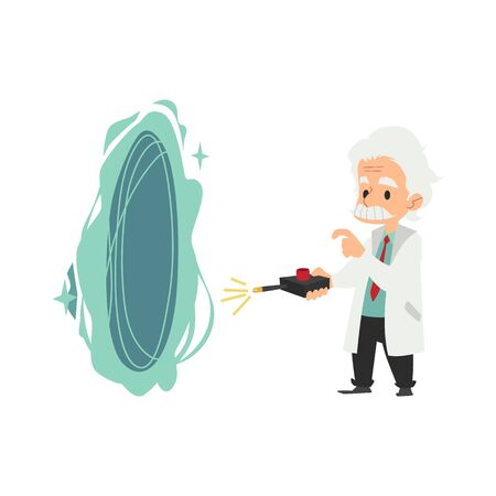 Old scientist stands holding remote control from opened portal cartoon style, vector illustration isolated on white background. Senior professor with teleportation experiment device, science fiction Illustration