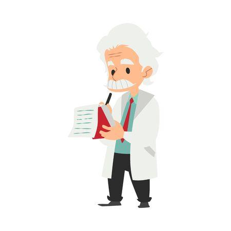 Un vecchio, uno scienziato e un professore con i baffi in camice da laboratorio fanno ricerche e prendono appunti su un taccuino. Concetto di carattere scientifico, chimico scienziato o medico, illustrazione vettoriale di cartone animato piatto. Vettoriali
