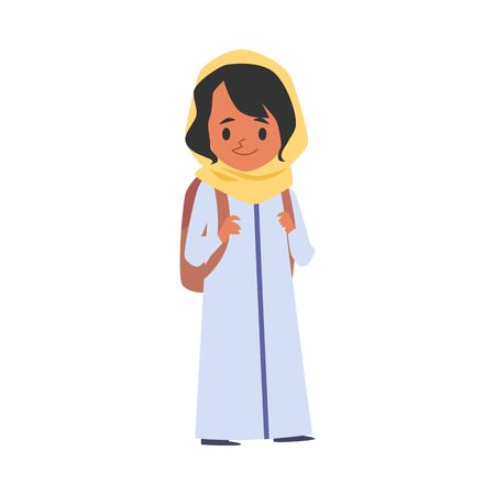 Cute arab or islamic girl with backpack goes to school cartoon character the concept of education in various religions, flat vector illustration isolated on white background.