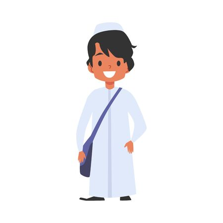 Cute muslim or islamic boy with a bag goes to school cartoon character flat vector illustration isolated on white background. Multicultural and tolerance concept.