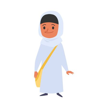 Cute muslim or islamic girl with a bag goes to school cartoon character flat vector illustration isolated on white background. Multicultural and tolerance concept.