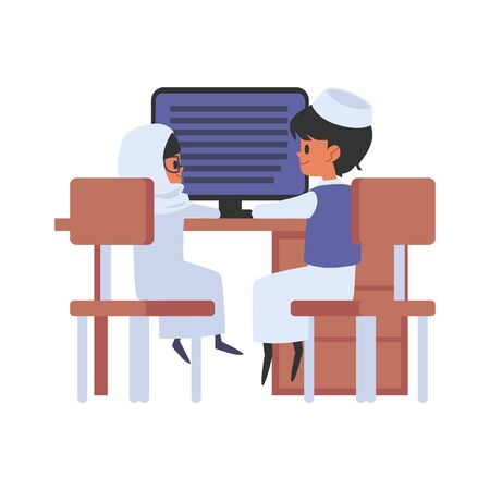 Muslim schoolboy and schoolgirl sitting together at modern classroom with computer flat vector illustration isolated on white background. Education of arabic and islam kids.