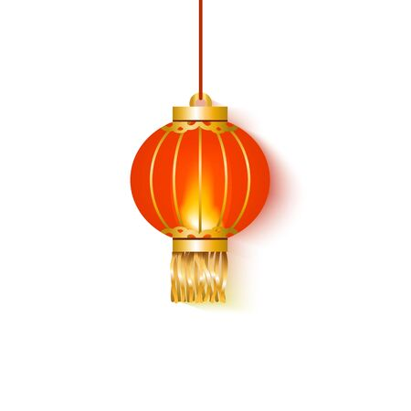 Hanging red glowing paper Chinese lantern round shape. Festive and traditional Chinese lantern and lamp for celebration and decoration on an isolated white background, vector illustration. Illustration