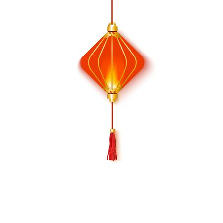 Traditional oriental and hanging red glowing Chinese lantern. Red paper Chinese lantern for holidays, for celebrating and decorating for the New Year. Isolated vector illustration.