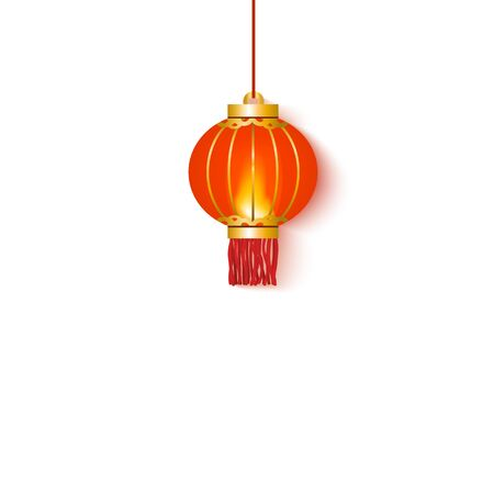 Red chinese oriental hanging lantern and lamp round shape for celebration and decoration on an isolated white background, vector illustration. Illustration
