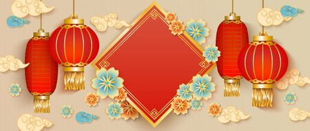 Traditional Chinese New Year card banner with red lanterns and blank text template, red and beige greeting card or oriental party invitation with flowers and clouds. Vector illustration. Vettoriali