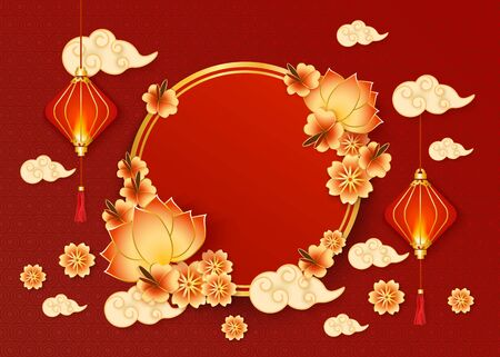 Chinese New year banner with traditional red lanterns and clouds in oriental style and circle frame decorated with flowers vector illustration on textured red background.  イラスト・ベクター素材