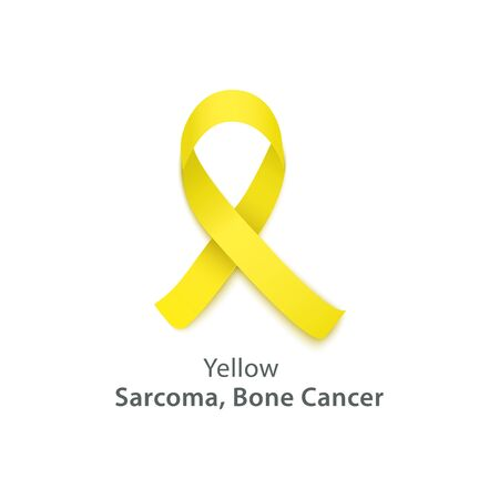 Yellow ribbon icon for bone disease and sarcoma awareness, symbol for disease solidarity and charity events. Health and medicine related vector illustration isolated on white background.