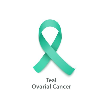 Teal ribbon for ovarian cancer awareness day, hope symbol for health and support for survivors and victims - isolated icon on white background, vector illustration