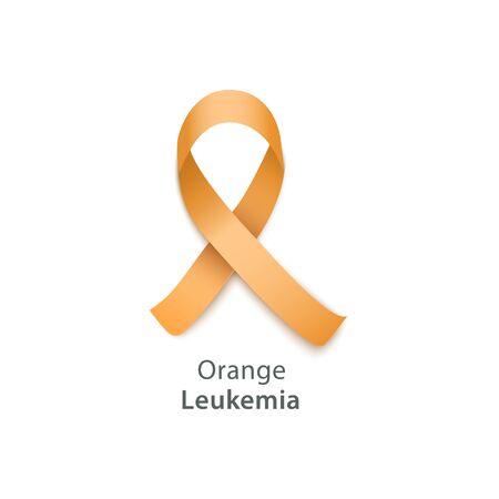 Orange ribbon - symbol for leukemia awareness campaign, blood cancer solidarity day emblem, vector illustration isolated on white background.