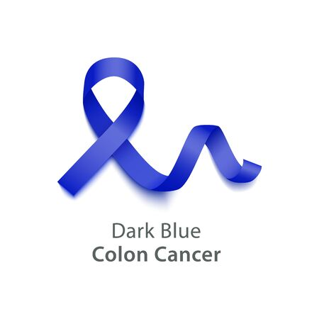Dark blue color curly ribbon or loop realistic style, vector illustration isolated on white background. Symbol of colon cancer awareness month and solidarity or support sign Stockfoto - 128171361