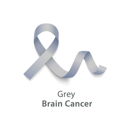 Gray color curly ribbon or loop in realistic style, vector illustration isolated on white background. Symbol of brain cancer awareness month and solidarity or support sign