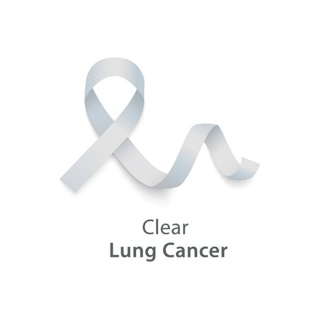 Clear white curly ribbon and loop in realistic style, vector illustration isolated on white background. Symbol of lung cancer awareness month and solidarity or support sign Vectores