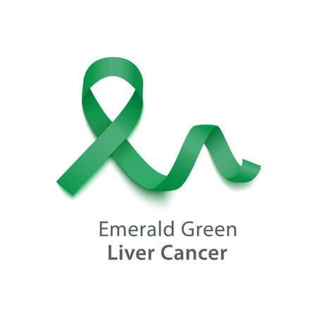 Emerald Green (Jade) symbolize Liver Cancer Awareness Month ribbon. Health care against disease emblem banner vector illustration isolated on white background. 写真素材 - 128171364
