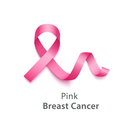 Pink ribbon symbolize Breast Cancer Awareness Month concept element. Women health care against disease emblem banner vector illustration isolated on white background.