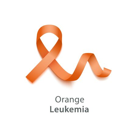 Orange ribbon symbolize Leukemia Cancer Awareness Month concept element. Health care against disease emblem banner vector illustration isolated on white background.