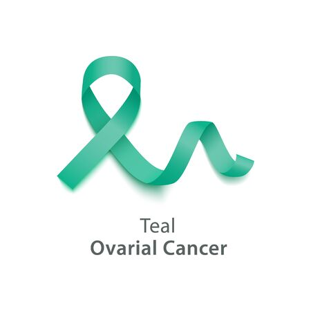 Teal color curly ribbon or loop in realistic style, vector illustration isolated on white background. Symbol of ovarial cancer awareness month and solidarity or support sign
