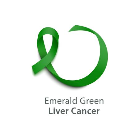 Realistic 3d wavy emerald green satin ribbon icon of liver cancer symbol. The concept of support and awareness with liver cancer. Isolated vector realistic illustration.