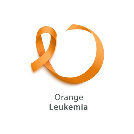 Orange ribbon of Leukemia awareness the kidney cancer association official symbol vector illustration isolated on white background. Element for healthcare or medicine banner.