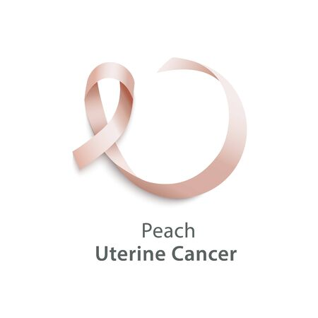 Peach color ribbon the uterine cancer awareness month in September icon realistic vector illustration isolated on white background. Cancer prevention and fight.  イラスト・ベクター素材