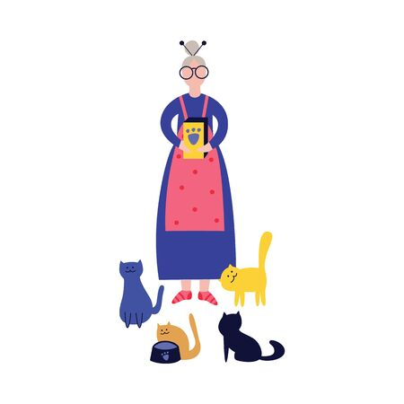Lonely grandmother or elderly woman holding a package with animal feed for her waiting for food cats colorful cartoon flat vector illustration isolated on white background.