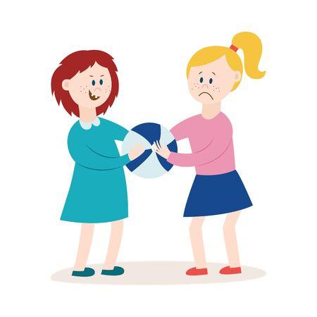 Täter oder Täter wütendes Mädchen, das ein Spielzeug von einer anderen flachen Vektorillustration wegnimmt, die auf weißem Hintergrund lokalisiert wird. Problem von Mobbing und Aggression bei Kindern. Vektorgrafik