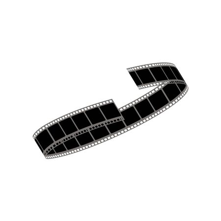 Black twisted or curly film strip with gray edging cartoon style, vector illustration isolated on white background. Tape roll of movie pictures, reeled off cine-film