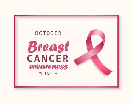 Breast cancer awareness banner with pink ribbon and frame realistic style, vector illustration isolated on white background. Health care symbol of breast cancer awareness day in October month