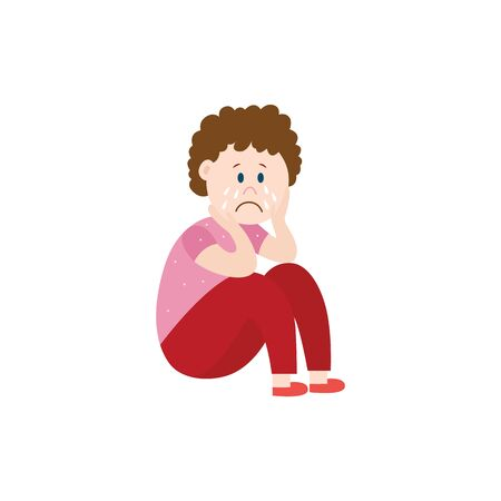 Sad child the victim of bullying sitting lonely on the floor flat vector illustration isolated on white background. Problem of bullying and harassment in the school.