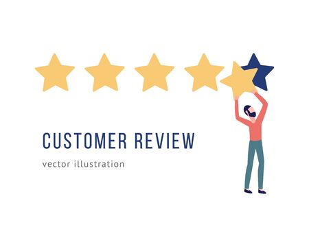 Man puts star rating the customers quality review banner with copy space for your text flat style vector illustration isolated on white background. Template for ranking. Ilustração