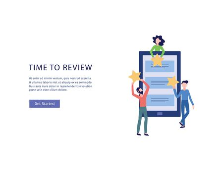 Online customers feedback banner with people characters and copy space for text flat vector illustration isolated on white background. Review or rating for business.
