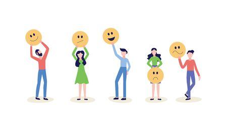 Menschen, die ein Lächeln-Gesichts-Symbol oder ein Emoticon halten, die Bewertung der Feedback-Kundenbewertung und den Zufriedenheitsgrad von flachen Vektorillustrationen einzeln auf weißem Hintergrund.