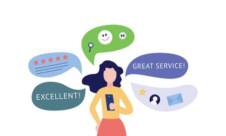 Standing woman using smartphone and giving customers feedback surrounded by social network and review icons flat cartoon vector illustration isolated on white background.