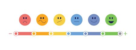 Feedback bar and emoticon scale from negative to satisfaction and smile expression vector illustration isolated on white background. Customer rating and evaluation review.