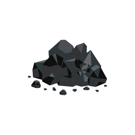 Heap of black natural coal mineral rocks flat vector illustration isolated on white background. Fuel mining and power resources of nature icon for industrial design. Foto de archivo - 126296993