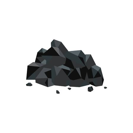 Heap or pile of black natural coal mineral flat vector illustration isolated on white background. Fuel mining and energy reserves of nature icon for industrial design.