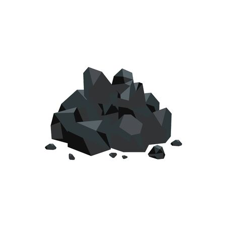 Natural black coal stones flat style vector illustration isolated on white background. Energy or power resource icon for industrial mineral fuel mining design.