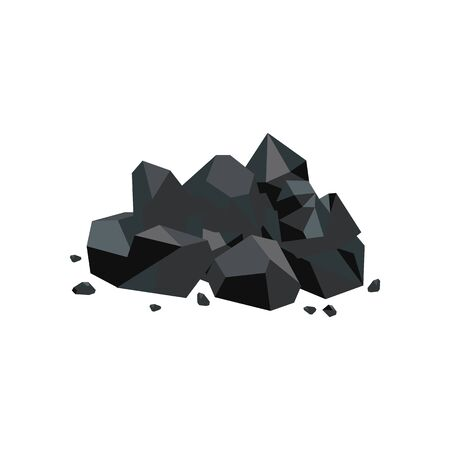 Black coal lump piece, fuel mine industry and energy resource icon, shiny cartoon rock pile with stray stone pieces isolated on white background, flat geometric vector illustration Иллюстрация