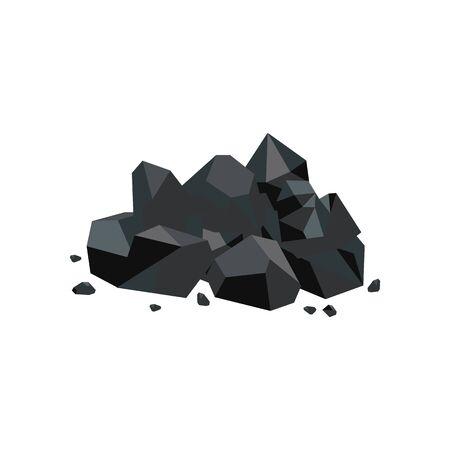 Steinkohlestück, Brennstoffminenindustrie und Energieressourcenikone, glänzender Karikaturfelsenhaufen mit streunenden Steinstücken einzeln auf weißem Hintergrund, flache geometrische Vektorillustration