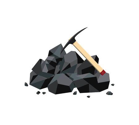 Icona della miniera di carbone con grumo di roccia minerale nero e piccone. Risorsa dell'industria della miniera di carburante e strumento di estrazione dell'energia del carbonio e mucchio di pietre di carbone - illustrazione vettoriale geometrica isolata piatta