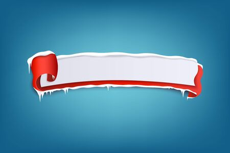 Horizontal icy winter red banner with snowdrifts and curled edge 3d realistic vector illustration on blue background. Template for advertising or promo christmas design.