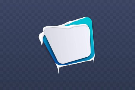 Squared frost christmas winter blue banner with snow and icicles 3d realistic vector illustration on transparent background. Template for advertising or promotional season design. Illusztráció