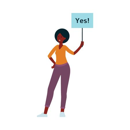 African woman stand holding placard on stick with yes inscription cartoon style, vector illustration isolated on white background. Female character with approving demonstration banner