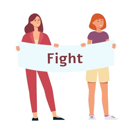 Two women stand holding protest placard with fight inscription cartoon style, vector illustration isolated on white background. Female characters with demonstration banner for feminist rights  イラスト・ベクター素材