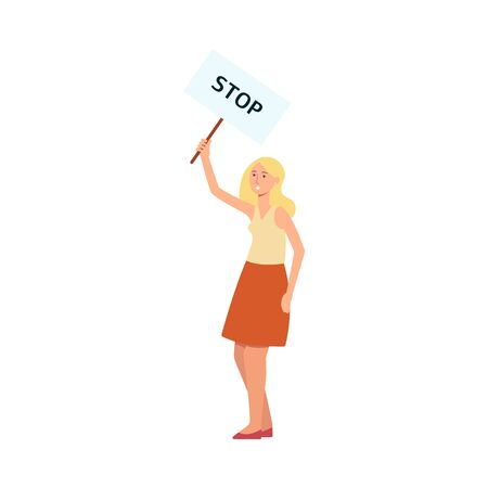 Woman stand holding protest placard with stop inscription cartoon style, vector illustration isolated on white background. Female character with demonstration banner for feminist rights
