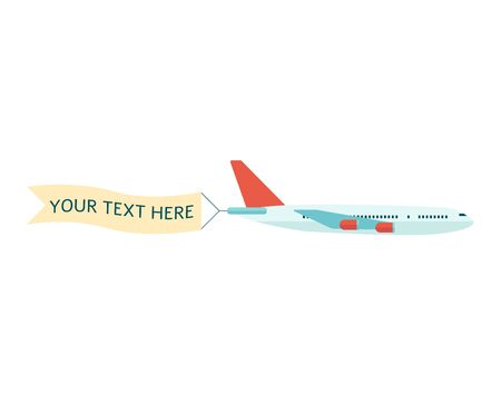 Flying plane with advertising or promotion banner for your text flat vector illustration isolated on white background. Template for a text web banners or printable cards.