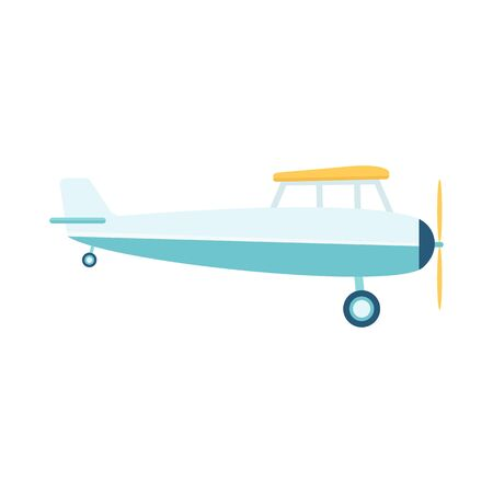 Small private lightweight propeller airplane or retro plane flat vector illustration isolated on white background. Aircraft in flight icon of aviation and air vehicle. Illustration